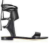 3.1 Phillip Lim Martini Black Leather Ankle Lace Flat Sandal