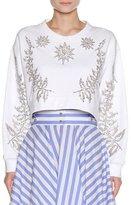 Francesco Scognamiglio Embellished Star & Floral Cropped Sweatshirt, White