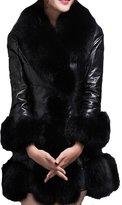 Helan Apparel Helan Women's Luxury Slim Faux Fox Fur Collar Long Coat US