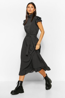 boohoo Polka Dot High Neck Midi Skater Dress