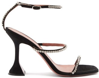 Amina Muaddi Gilda Crystal-embellished Suede Sandals - Black