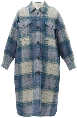 Etoile Isabel Marant Gabrion Single-breasted Checked Wool-blend Coat - Blue Multi