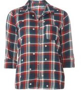 Dorothy Perkins Womens Star Embroidered Check Shirt- Multi Colour