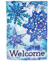 """Evergreen Welcome"""" Snowflakes Indoor / Outdoor Garden Flag"""