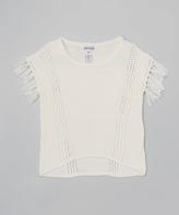 KensieGirl Vanilla Knit Fringe Tee - Girls