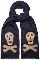 Loewe Skull-appliqué logo-jacquard wool-blend scarf