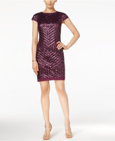 Vince Camuto Cap-Sleeve Sequined Sheath Dress