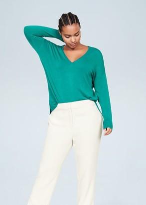 MANGO Violeta BY V-neck sweater emerald green - S - Plus sizes