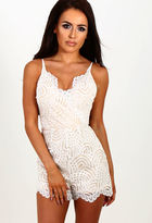 Pink Boutique Dream Daze White Lace Wrap Front Playsuit