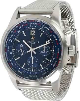 Breitling Blue Stainless Steel Transocean Chronograph Unitime AB0510U9/C879 Men's Wristwatch 46 MM