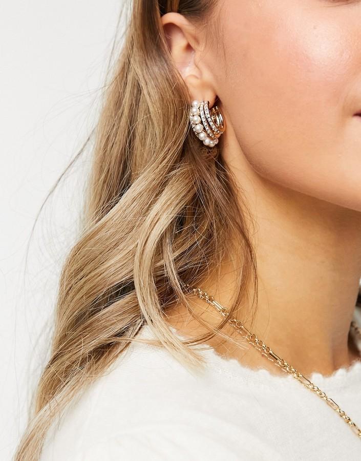 ASOS DESIGN hoop earrings with pearl row in gold tone