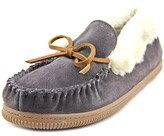 White Mountain Sleepover Women Moc Toe Suede Gray Slipper.