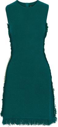 Oscar de la Renta Embroidered Grosgrain-trimmed Boucle-knit Mini Dress