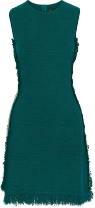 Oscar de la Renta Fringed Grosgrain-trimmed Frayed Boucle-knit Mini Dress