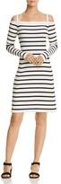 Theory Pirellia Cold-Shoulder Stripe Dress