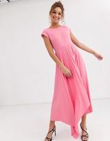 Asos Design DESIGN v back midi dress with pleated asymmetric hem in pink