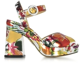 Charlotte Olympia Into The Wild Fruit Salad Print Metallic Leather Platform Sandal