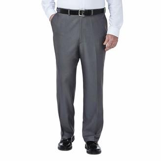 Haggar Men's Big & Tall Cool Gabardine Expandable-Waist Plain-Front Pant Heather Grey 50x34