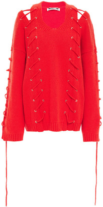 McQ Lace-up Wool And Cashmere-blend Sweater