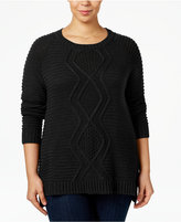 NY Collection Plus Size Cable-Knit Sweater