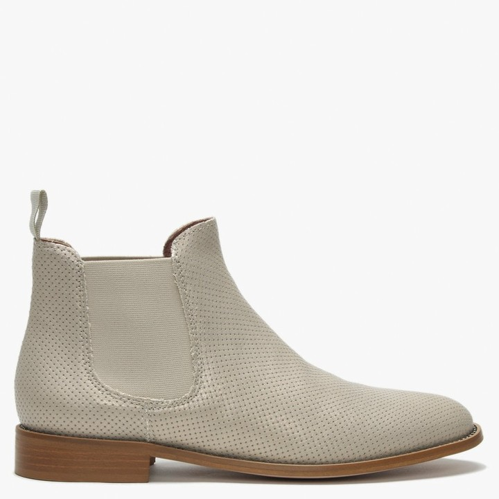 Daniel Erica Beige Metallic Leather Diamante Embellished Chelsea Boots