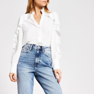 River Island Womens White embellished collar frill shirt