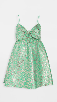 Alice + Olivia Melvina Tie Front Gathered Babydoll Dress