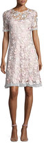 Elie Tahari Laura Short-Sleeve Lace Dress, Pink Pattern