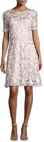 Elie Tahari Laura Short-Sleeve Lace Dress, Pink Pattern