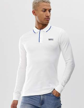 Tommy Jeans stretch long sleeve polo shirt-White