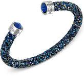 Swarovski Silver-Tone Black Crystal and Crystaldust Open Cuff Bracelet