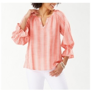 Tommy Bahama Striped 3/4 Sleeve Top