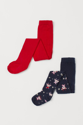 H&M 2-pack Fine-knit Tights - Blue