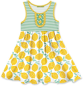 Millie Loves Lily Girls' Casual Dresses Yellow - Green Yellow Lemon Stripe Button-Front A-Line Dress - Toddler & Girls