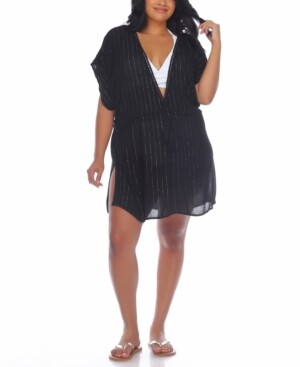 Raviya Plus Size Crochet-Trim Cover-Up Dress Women's Swimsuit