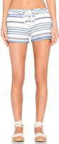 Monrow Burlap Stripe Lace Up Short