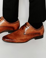 Frank Wright Smart Derby Shoes In Tan Leather
