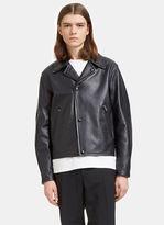 Acne Studios Men's Awe Leather Biker Jacket In Dark Navy