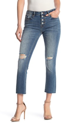 Vigoss Button Front Distressed Jeans