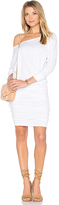 Monrow Off Shoulder Blouson Dress in White. - size L (also in S,XS)