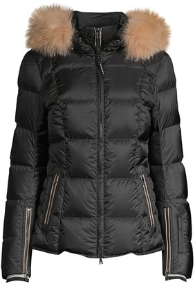 Bogner Sanne-D Fox Fur Trim Quilted Coat
