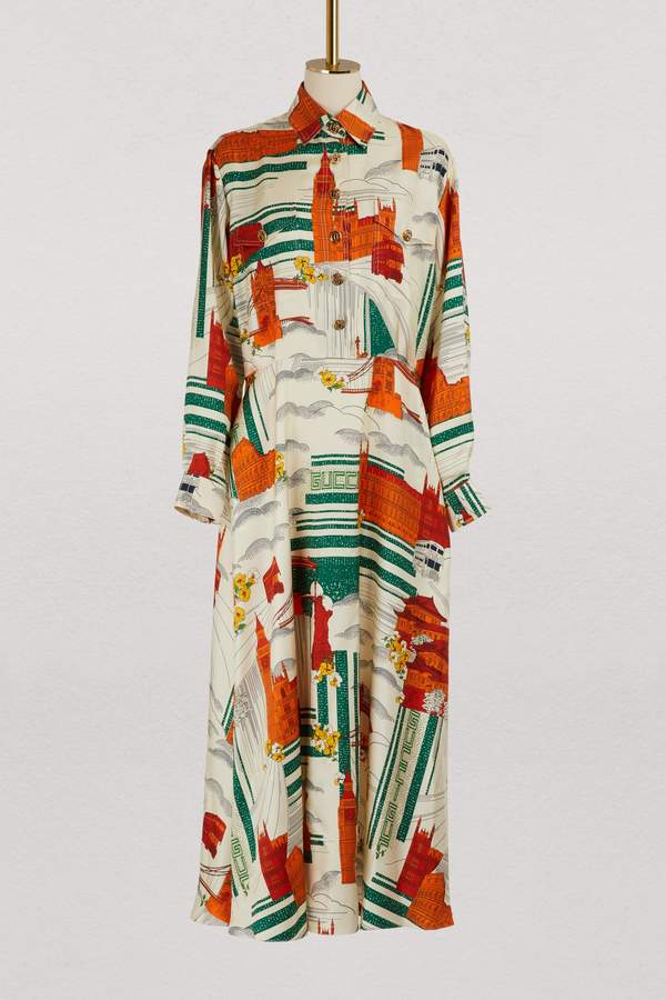 Gucci Illustrated Cities silk dress