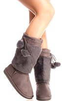 DEV Latest Fashion Women Fur Lined Shearling Cold-weather Mid Calf Snow Boot Shoes