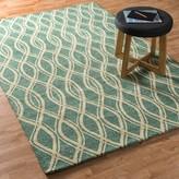 """Danko Geometric Handmade Hooked Green/Beige Indoor / Outdoor Area Rug Wrought Studio Rug Size: Rectangle 2'3"""" x 3'9"""""""