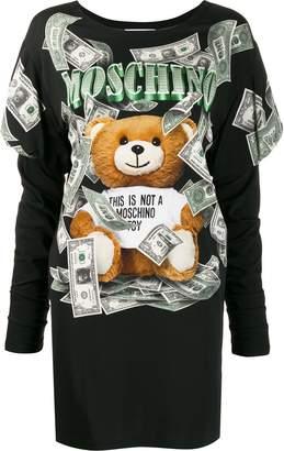 Moschino money-print Teddy Bear sweatshirt dress