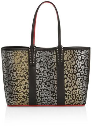 Christian Louboutin Small Cabata Metallic Leopard-Print Leather & Suede Tote