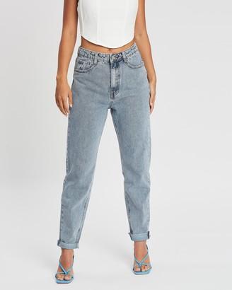 Missguided Stonewash Raw Hem Jeans