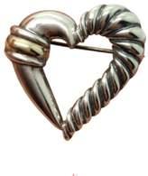 David Yurman Sterling Silver & 14K Yellow Gold Heart Shaped Brooch