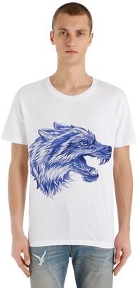 Gucci Pen Effect Wolf Printed Jersey T-Shirt