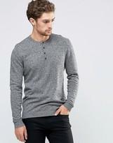 Asos Grandad Neck Sweater in Black and White Twist Cotton